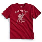 Ems Mens โ€œWild And Freeโ€ Graphic Tee – Red – Size M