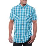Kuhl Mens Brisk Short-Sleeve Shirt  – Blue – Size S