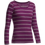 Icebreaker Womens Crush Long Sleeve Scoop Neck Striped Shirt – Red – Size S