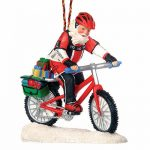 Outside Inside Mountain Bike Santa Ornament