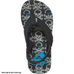 Reef Boys' Ahi Flip-Flops, Grey Skulls – Black