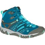 Merrell Womens All Out Blaze Ventilator Mid Waterproof Hiking Boots, Brown – Blue