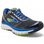 Brooks Mens Ghost 9 Running Shoes, Anthracite/electric Blue/lime – Black