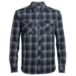 Icebreaker Men's Lodge Long Sleeve Flannel Shirt – Black – Size M