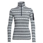 Icebreaker Women's Vertex Long Sleeve Half Zip, Icon Fairisle – White – Size M