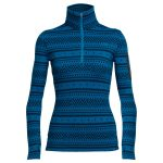 Icebreaker Women's Vertex Long Sleeve Half Zip, Icon Fairisle – Blue – Size M