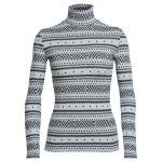 Icebreaker Vertex Long Sleeve Turtleneck, Icon Fairisle – White – Size S